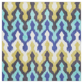 Cute colorful blue yellow chevron ikat pattern fabric