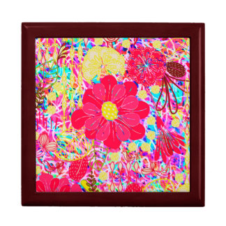 Cute colorful bright flowers gift box