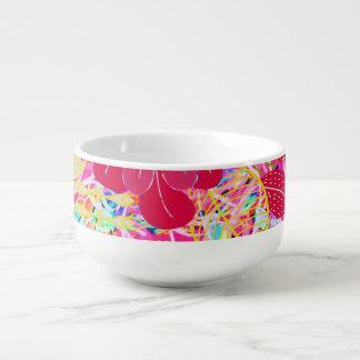 Cute colorful bright flowers soup mug