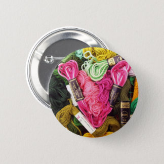 Cute colorful bright pink  embroidery heart 6 cm round badge