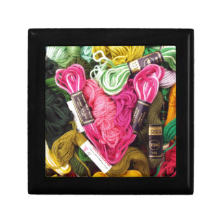 Cute colorful bright pink  embroidery heart gift box