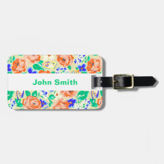 Cute colorful butterflies roses patterns luggage tag