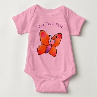 Cute Colorful Butterfly Cartoon Baby Bodysuit