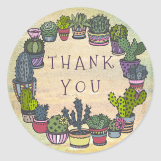 Cute Colorful Cactus Thank You Classic Round Sticker