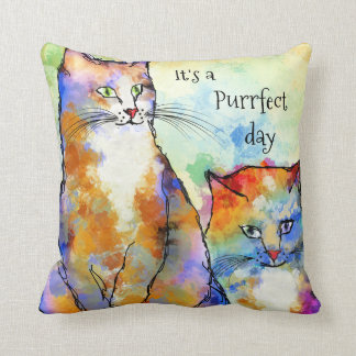 Cute Colorful Cats Painted Pillow
