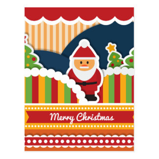 Cute colorful Christmas design with Santa Claus Postcard