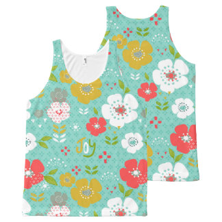 Cute Colorful Christmas Flowers & Tyography All-Over Print Singlet