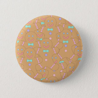Cute Colorful Christmas Gingerbread Man Pattern 6 Cm Round Badge