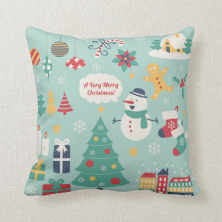 Cute colorful Christmas Snowman pattern Throw Pillow