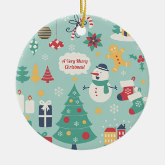 Cute colorful Christmas Snowman pattern Christmas Ornaments