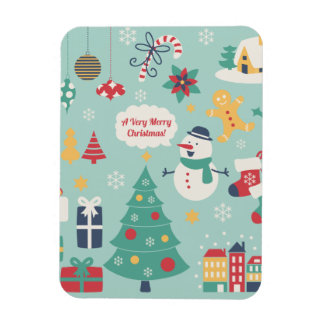 Cute colorful Christmas Snowman pattern Rectangular Magnet