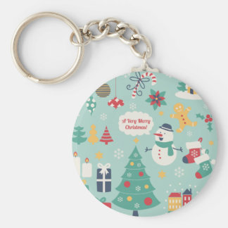 Cute colorful Christmas Snowman pattern Key Chain