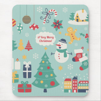 Cute colorful Christmas Snowman pattern Mouse Pads
