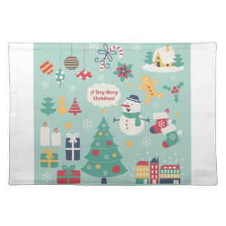 Cute colorful Christmas Snowman pattern Cloth Placemat