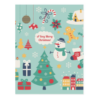 Cute colorful Christmas Snowman pattern Postcard