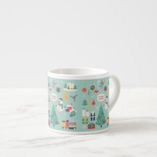 Cute colorful Christmas Snowman pattern Espresso Mugs