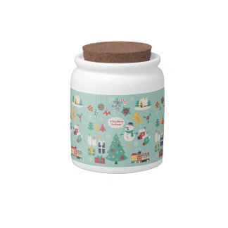 Cute colorful Christmas Snowman pattern Candy Jar