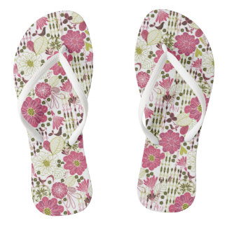 Cute colorful classic floral pattern thongs