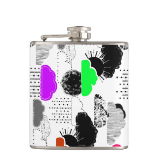 Cute colorful clouds patterns flasks