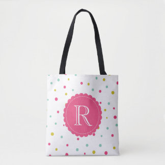 Cute Colorful Confetti Dots Pattern Monogram Bag