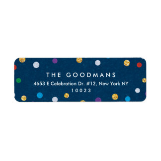 Cute Colorful Confetti Holiday / Party Return Address Label