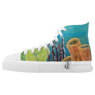 Cute & Colorful Coral Tropical High Top Sneakers