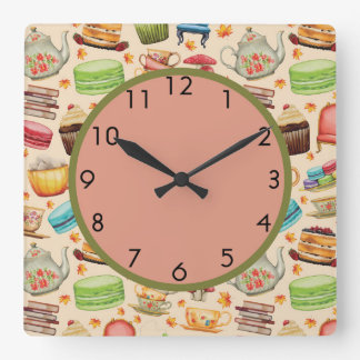 Cute Colorful Cupcakes and Teapots Wall Clock