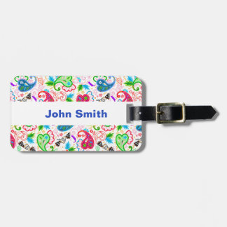 Cute colorful decorative flowers patterns luggage tag