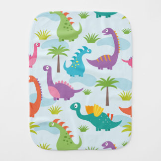 Cute colorful Dino Pattern Baby Burp Cloths