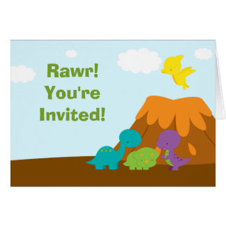 Cute colorful dinosaurs birthday party invitation