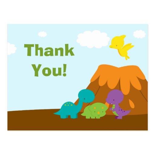Cute colorful dinosaurs birthday party thank you post cards