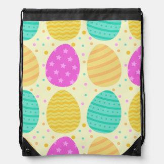 Cute colorful easter eggs pattern drawstring bag