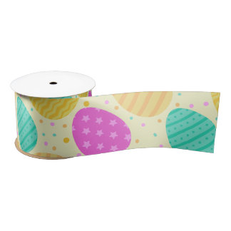 Cute colorful easter eggs pattern satin ribbon
