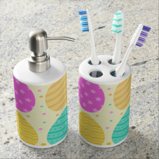 Cute colorful easter eggs pattern soap dispenser and toothbrush holder