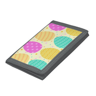 Cute colorful easter eggs pattern tri-fold wallet