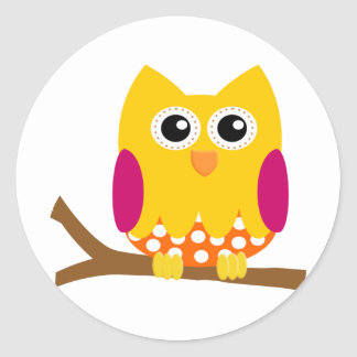 Cute Colorful Fall Owl Stickers