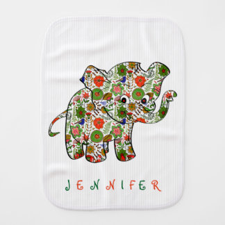 Cute Colorful Floral Baby Elephant Burp Cloth