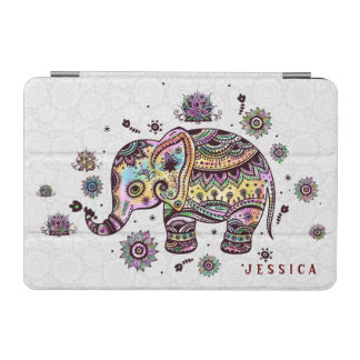 Cute Colorful Floral Baby Elephant Illustration iPad Mini Cover