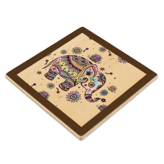 Cute Colorful Floral Baby Elephant Illustration Wood Coaster