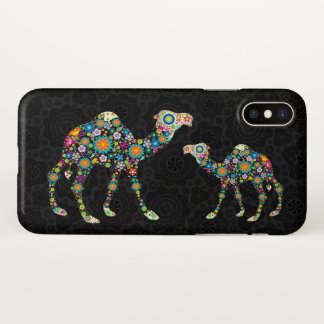 Cute Colorful Floral Camel Illustration iPhone X Case