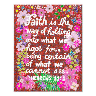 Cute Colorful Floral Faith Bible Verse Photo Print