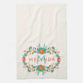 Cute Colorful Floral Frame Tea Towel