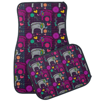 Cute colorful floral hearts elephant pattern car mat