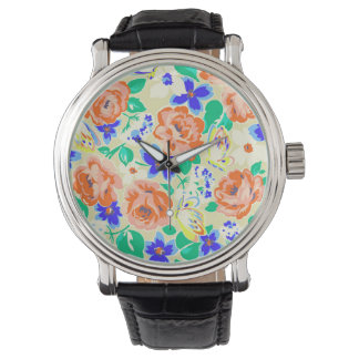 Cute colorful floral pattern watch