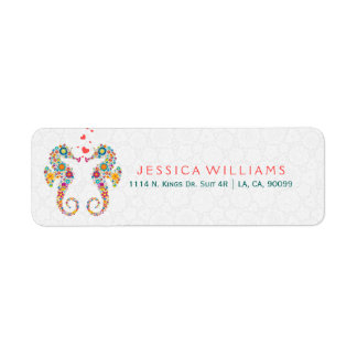 Cute Colorful Floral Sea-Horses In Love Return Address Label