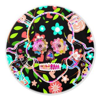 Cute colorful floral skull ceramic knob