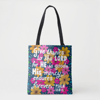 Cute Colorful Floral Thanksgiving Bible Verse Tote Bag