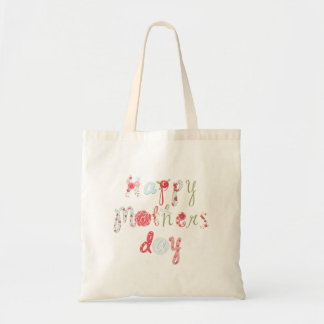 Cute Colorful Flower Letter-Happy Mothers Day Tote Bag
