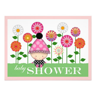 Cute Colorful Flowers and Baby Baby Shower Custom Invitation