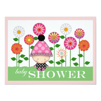 Cute Colorful Flowers and Baby Baby Shower 6.5x8.75 Paper Invitation Card